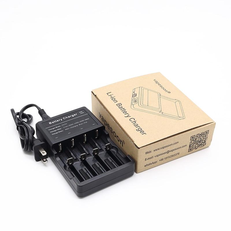100% Original vapesoon Electronic Cigarette 3.7V Li-ion Battery 4 Slots Charger fit for 18650 18350 16340 14500 battery
