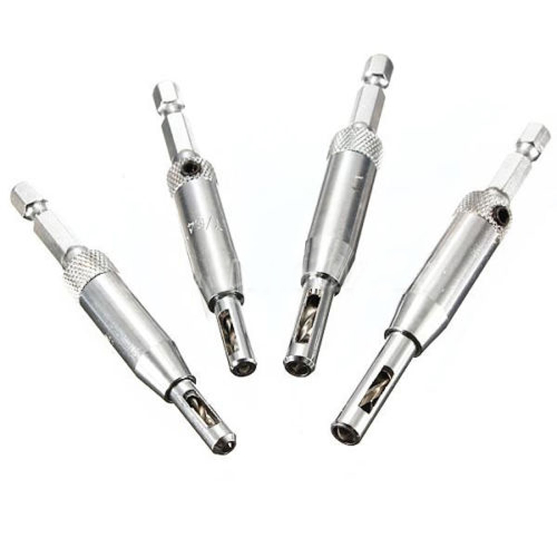New 4X DOOR LOCK HARDWARE HINGE DRILL BIT SET SELF