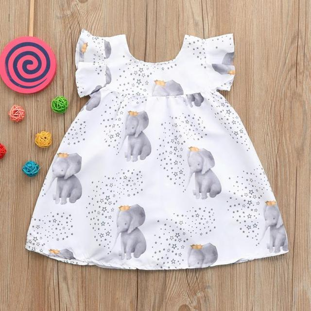 bcc70cafb Dress baby girls clothing 2018 Toddler Infant Baby Girls Dress Stars  Elephant Print Dresses Clothing Outfits 6.12