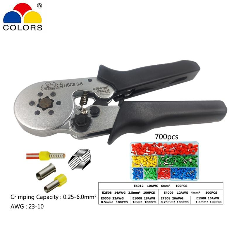 Hsc8 6-6 ferramentas manuais eletricista alicate de friso adequadas para terminais de bucha de isolamento e isolamento 0.25-6.0mm2 awg 23-10