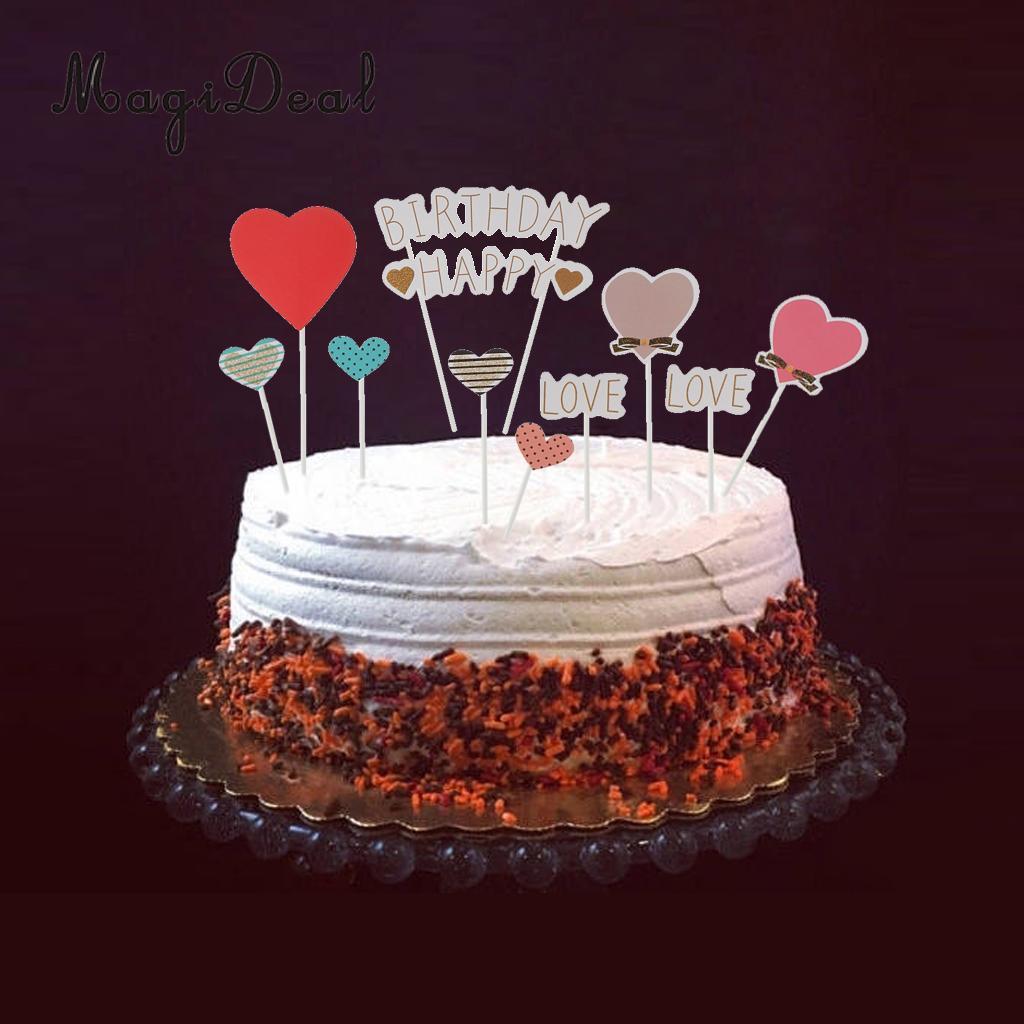 Happy Birthday Cupcake Topper Love Heart Cake Pick Stick Birthday