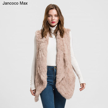 Jancoco Max 2019 Thick Knitted Women's Real Rabbit Fur Vest  Ladies Winter Fashion Fur Gilet Casual  Coat S1480