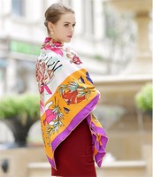 WINFOX 130*130cm 2018 New Luxury Brand Scarf Women Silk Scarf Horse Floral Big Square Handkerchief Silk Pashmina Shawl