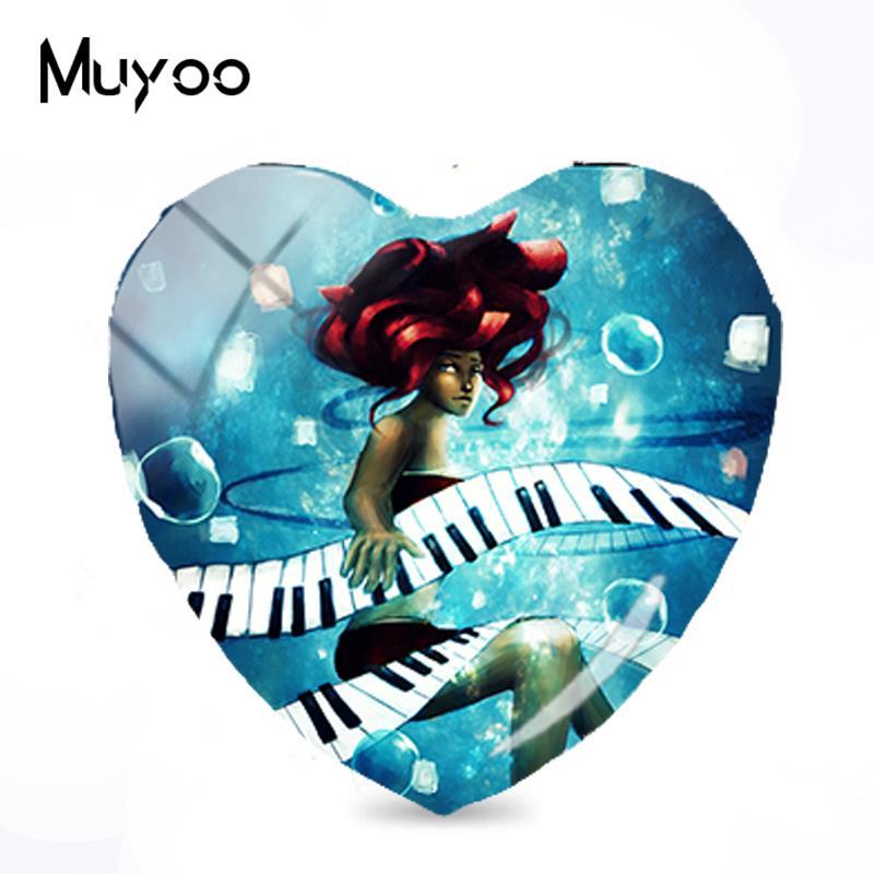 2018 Yeni Piyano Muzik Boyama Taki Buyuk Piyano Kalp Cabochon El