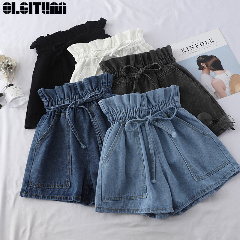 Denim Shorts Female Summer 2020 New Flowerbed High Waist Streetwear Bottoms Fashion Loose Korean Student Wide Leg Shorts PT391