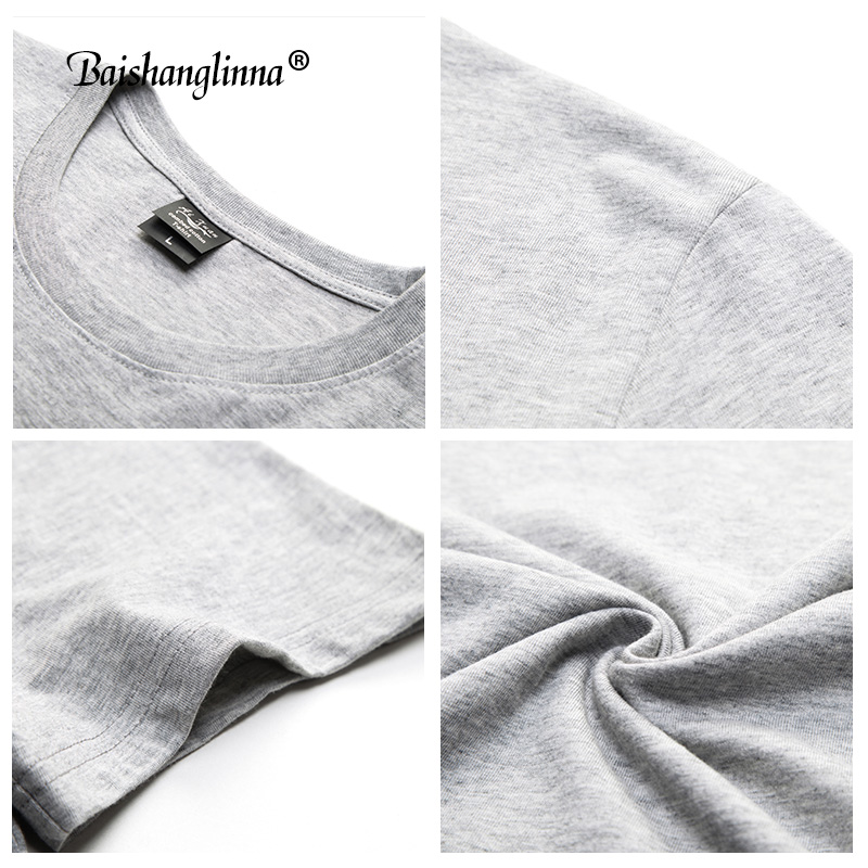 Baishanglinna Spring Summer Short Sleeve Tee Shirt Men Casual O-Neck T-Shirt Men Pure Cotton Top Homme Brand Clothing S - XXXXL 5