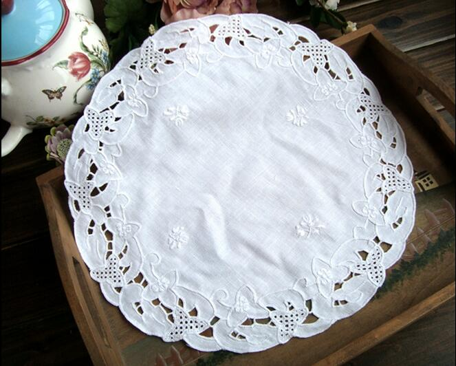 HOT White Cotton Table Place Mat Pad Cloth Embroidery Cup