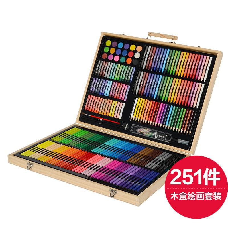 251 pcs Art Tools Painting Set for Kids Children Drawing Art markers Pen Crayons Oil pastels for Kids with Wooden Case promotion touchfive 80 color art marker set fatty alcoholic dual headed artist sketch markers pen student standard