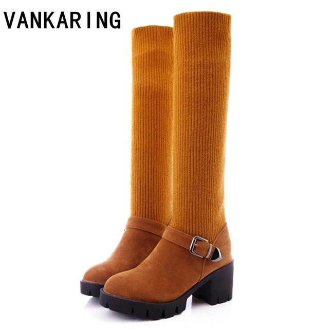 1bb0e216a7cf VANKARING autumn winter boots women high heels fashion woollen sock ankle  boots cozy warm snow boots shoes women knee high boots