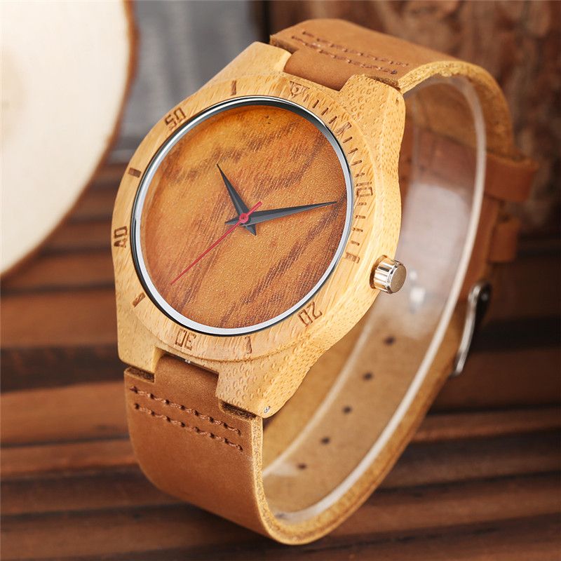 Fashion 2017 Wooden Watch Modern Mens Handmade Bamboo Leather Band Nature Wood Quartz Wrist Watch Top Gifts Reloj de madera new world map mens genuine leather quartz watch wood bamboo male wrist watch luxury brand reloj de madera genuine with gift box