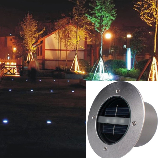 4pcs stainless steel waterproof led solar round buried lights 4pcs stainless steel waterproof led solar round buried lights outdoor ground square buried lights outdoor lighting aloadofball Image collections