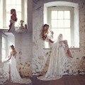 Elegante Cheia Do Laço Longo de praia Vestidos de Casamento 2016 Com Decote Em V Sem Encosto Bow A Linha White Cap Manga Vestidos de Noiva vestidos de novia