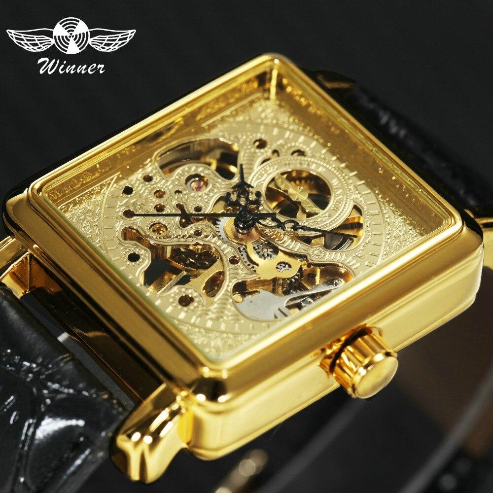 d364b4753c3 Mulheres VENCEDOR relógio de Pulso Mecânico Relógios 2018 Top Senhoras Marca  De Luxo Semi Automático Esqueleto Relógio De Pulso Presente para as Mulheres  + ...