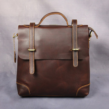 2016 New Vintage Men's Crazy Horse Genuine Leather Retro Vintage Shoulder Messenger Bag Male Handbag High Quality Briefcase