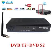 Volle HD DVB T2 S2 Combo Decoder + wifi Satellite Receiver Unterstützung IKS Cccam Youtube Biss Terrestrischen Satellite Combo Iptv TV Box