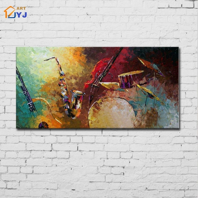 Jazz Drum Kit Music Canvas Wall Art Hand Painted Modern Abstract Oil Painting For Living Room