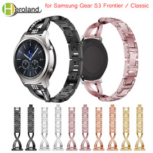 For Gear S3 bracelet starp for Samsung Gear S3 Frontier / Classic Watch Band Replacement smart wristband stainless steel Crystal v moro new genuine leather watch bands gear s3 replacement bracelet for samsung gear s3 classic frontier smart watch