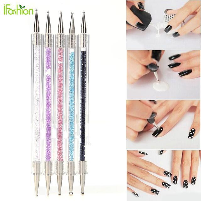 5pcs/set Acrylic 2 Ways Dotting Tool Nail Art Pen Colorful ...