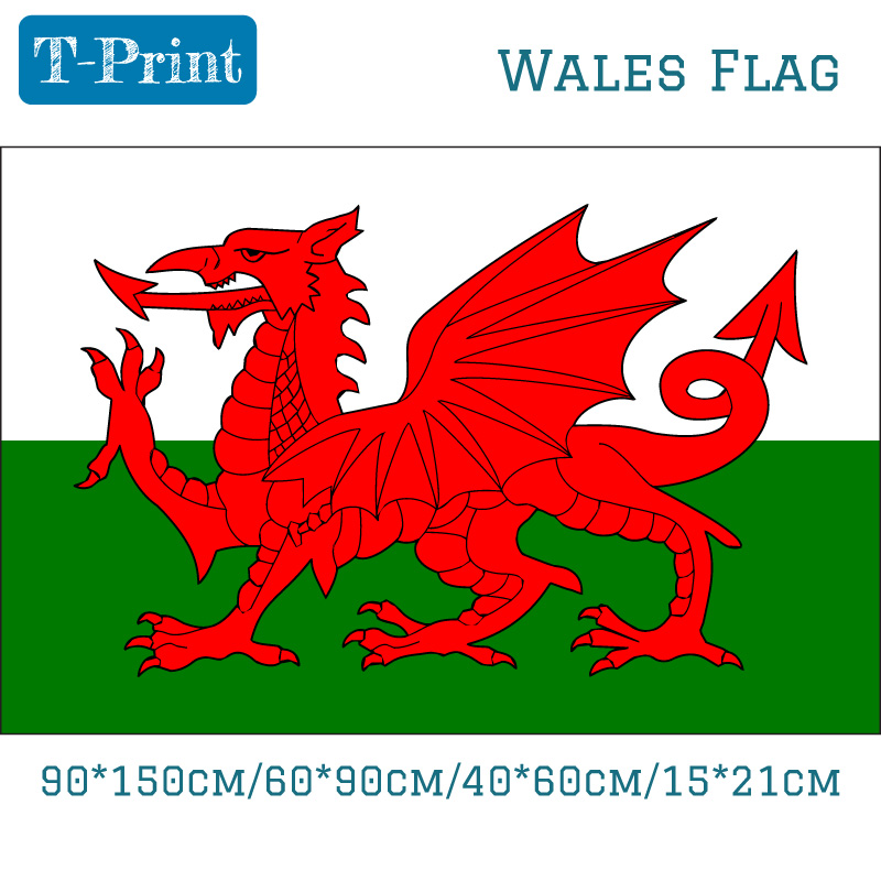 Free shipping 90 150cm 60 90cm 40 60cm 15 21cm Wales National Flag banner Home Decoration Celebration For Parade Football in Flags Banners Accessories from Home Garden