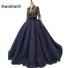 Real Photo Vestidos de Gala Largos Beading Lace Tulle Court Train Long Sleeve Evening Dress
