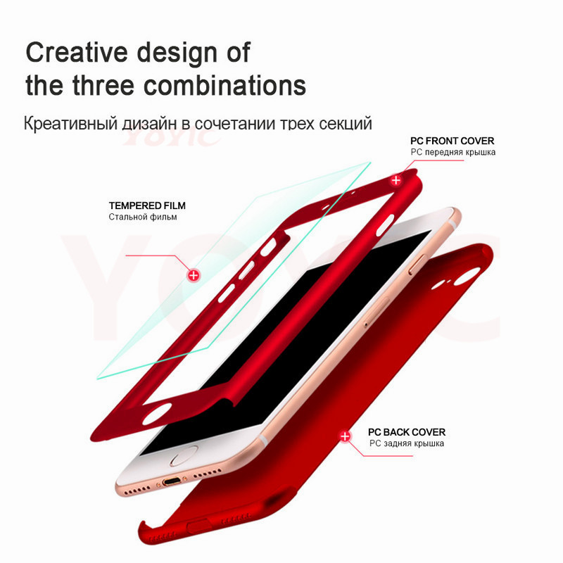 Image 5 - 360 Degree Full Cover Case For iPhone X 7 6s 5s 5Case Cover For Apple iphone X 7 6 Plus 8 8 Plus Capa Coque With Tempered Glass-in Fitted Cases from Cellphones & Telecommunications