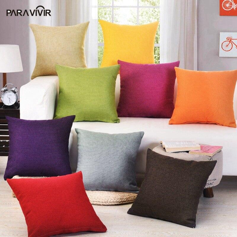 PARA VIVIR Solid Linen Cotton Plain Cushion Cover Simple Design Unique Plain Decorative Pillows