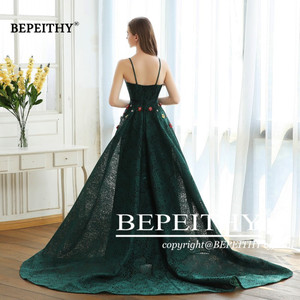 Image 2 - BEPEITHY Green Lace Long Prom Dresses Spaghetti Straps With Flowers 2020 Vestido De Festa Evening Dress Party Gown Hot Sale