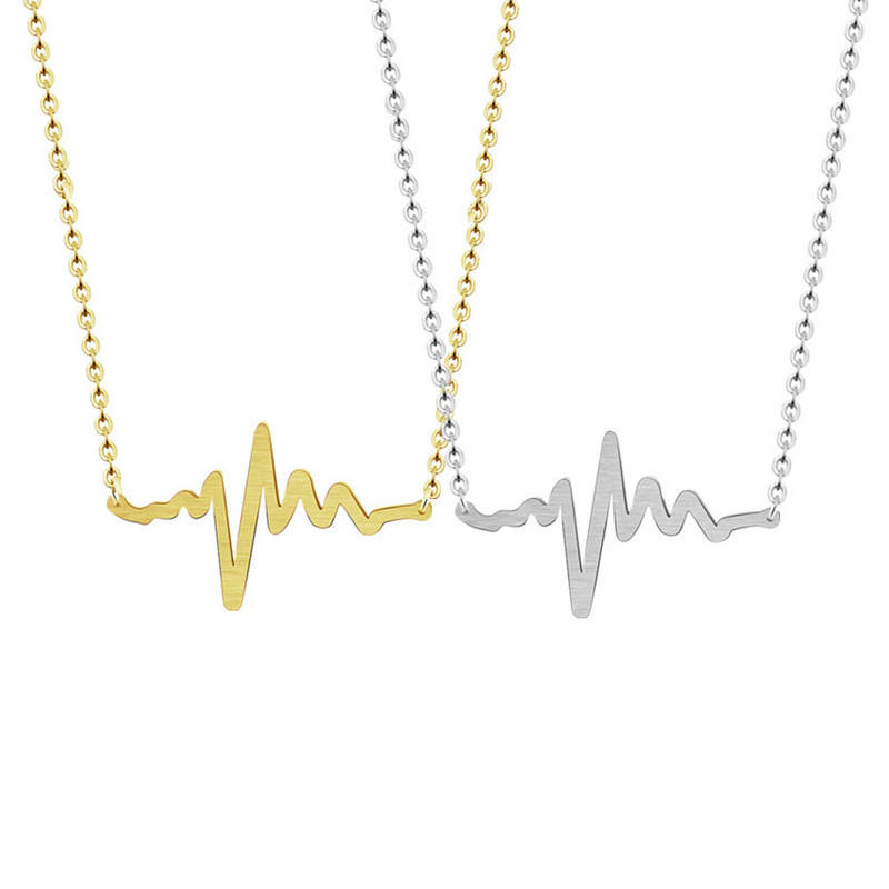 Gold Chic Medical Stethoscope Wave ECG Heartbeat Necklace For Women Wedding Stainless Steel Lightning Nurse Doctor Jewelry