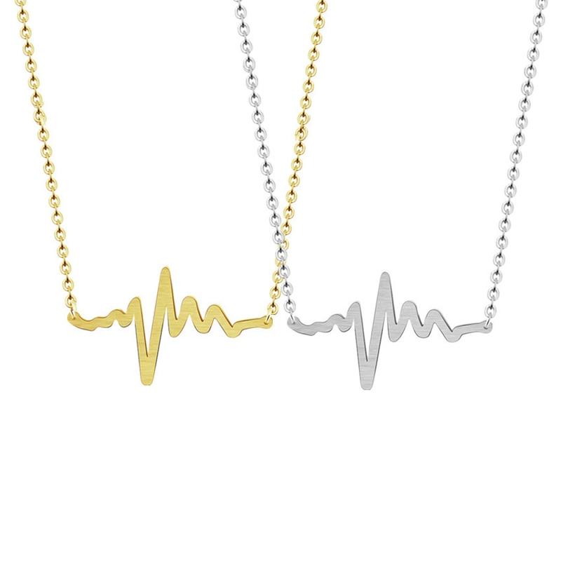 Gold Chic Medical Stethoskop Welle EKG Herzschlag Halskette für - Modeschmuck