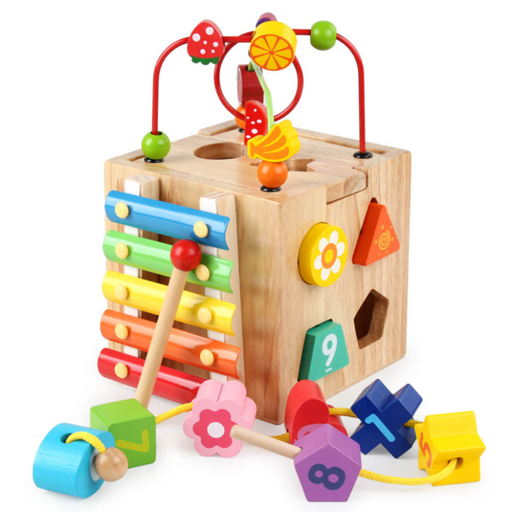 Wooden Colorful Beads Knocking Piano Toys Multifunction Four Sides Educational Box Learning Educational Toys for Kids Math Toys