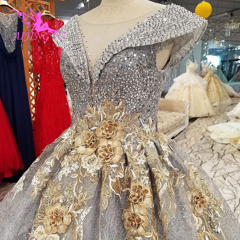 AIJINGYU Wedding Dress For Sale Online Bridal Gown Shops 2019 Princess Ball Grown Gray Outfits Simple Lace Wedding Dresses