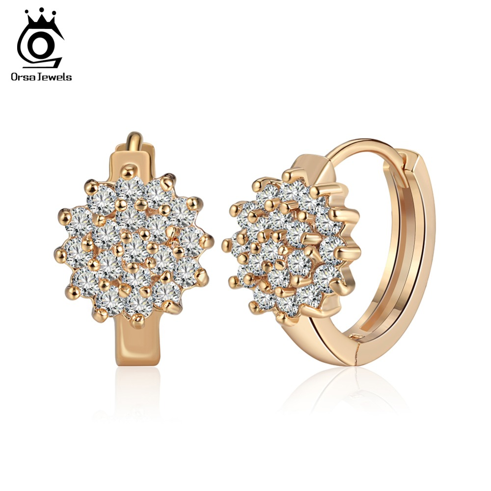 ORSA JEWELS Luxury Women Hoop Earrings 19 Pcs AAA Clear Zircon Silver&Gold-color Female Wholesale Earring Fashion Jewelry OME47 цены онлайн