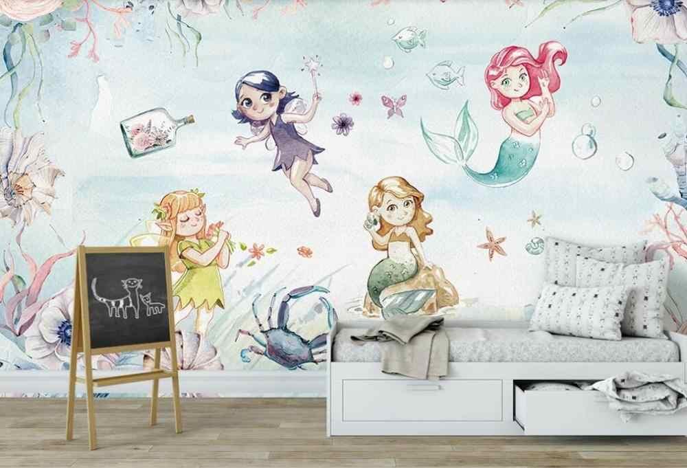 ที่กำหนดเองขนาดใหญ่ 3D ภาพจิตรกรรมฝาผนังวอลล์เปเปอร์ sea world มือวาดน่ารัก fairy mermaid เด็กพื้นหลัง wall
