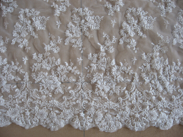 Off White Corded French Lace Fabric For Wedding Gown Ivory With Double