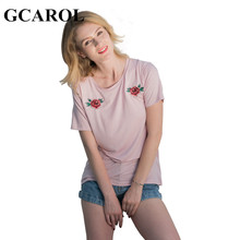 GCAROL 2017 Women New Floral Embroidery Tshirt Fashion Casual Summer Joker Tees Euro Style Basic Tops For Ladies