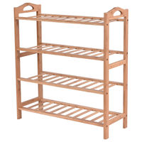 Giantex 4 Tier Bamboo Shoe Rack Entryway Shoe Shelf Holder Modern Shoes Storage Organizer Home Furniture HW52610