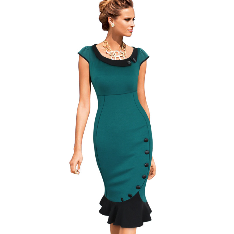 362b7eb84e 2017 Womens Vintage Elegant Formal Lace Button Patchwork Tunic Wear To Work  Party Mermaid Midi Pencil Wiggle Bodycon Dress 721-in Dresses from Women s  ...