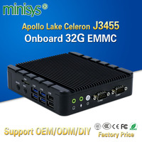 Minisys Cheap Desktop Mini Pc Ubuntu Intel Apollo Lake Celeron J3455 Quad Core Onboard 32G EMMC