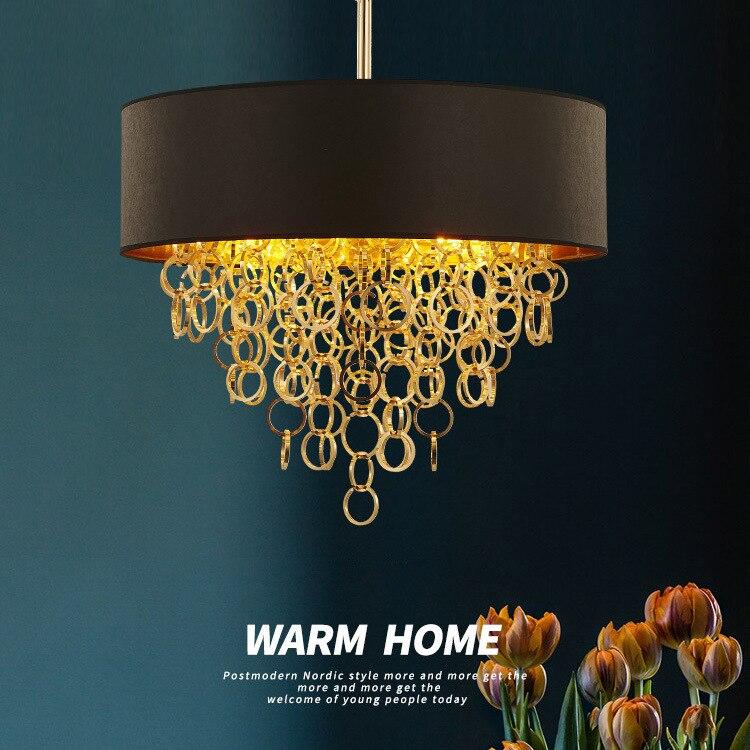 Or noir cerceau tissu art LED lustre pendentif lumières E27 lumière de luxe mode chaud plafonnier LED éclairage lampes et lanter