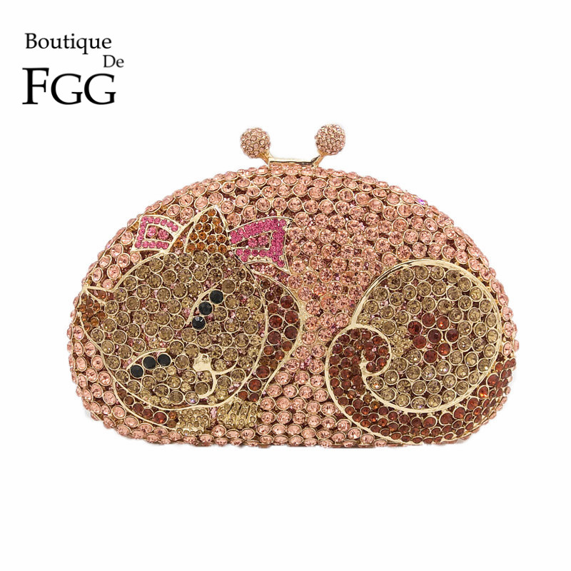 Brides Wedding Dress Pink Crystal Fox Evening Bag Animal Diamond Prom Party Clutch Purse Women Handbag Metal Minaudiere Bags newest fashion women evening bag luxury 3 colours radient rhinestone clutch purse crystal handbag party and wedding wallet