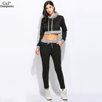 FANALA Women Set 2 Piece Set Hoodies Sweatshirt And Long Pants Suit Set 2017 Spring Autumn