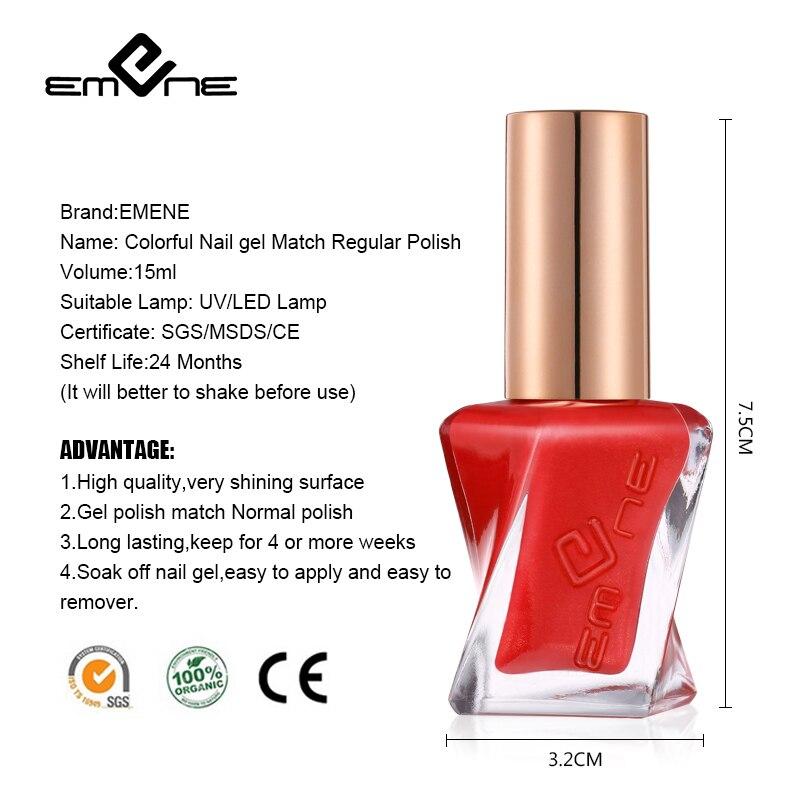 EMENE 15ML 205 Gelcolor LED UV Nail Gel polish Match Regular Normal Polish Hybrid Lacquer Semi Permanent gel Gelpolish Primer -in Nail Gel from Beauty ...