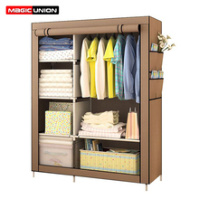 Magic Union Simple Modern Folding Wardrobe Fabric Cloth Wardrobe Closet Steel Single Wardrobe Assembly Double Storage Cabinet