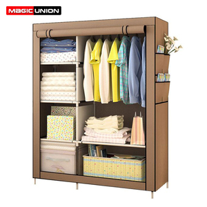 Image 1 - Magic Union Simple Modern Folding Wardrobe Fabric Cloth Wardrobe Closet Steel Single Wardrobe Assembly Double Storage Cabinet