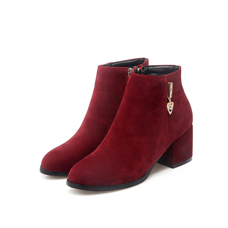 Fashion Suede Leather Women Boots Low Heels Sexy Pointed Toe Ankle ...
