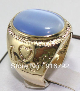 free shipping P&P *******MENS JEWELRY VOGUE LIGHT BLUE stone RING, SIZE 9# S#