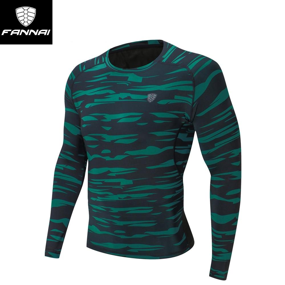 FANNAI Men Long Sleeve Trainning T-shirts Round Neck Camouflage Men Light Breathable Good Elasticity Exercise T-shirts