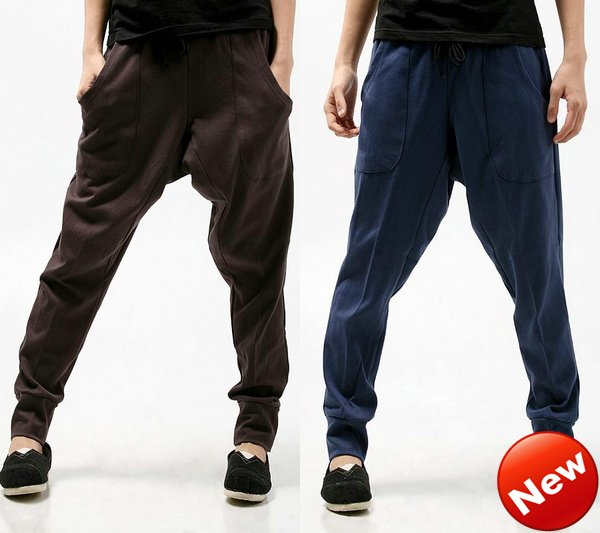 NWT Mens Casual Athletic Hip Hop Sporty Baggy Low Crotch Harem Long Cropped Sweat Pants