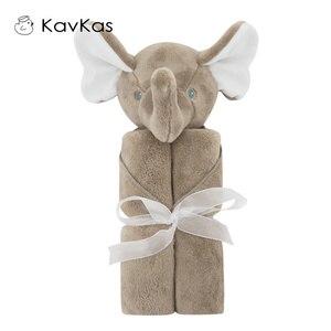 Image 4 - Kavkas Baby Blankets 76x76cm Baby Bedding Winter Birthday Gift Newborn Soft Warm Coral Fleece Plush Animal Educational Plush Toy
