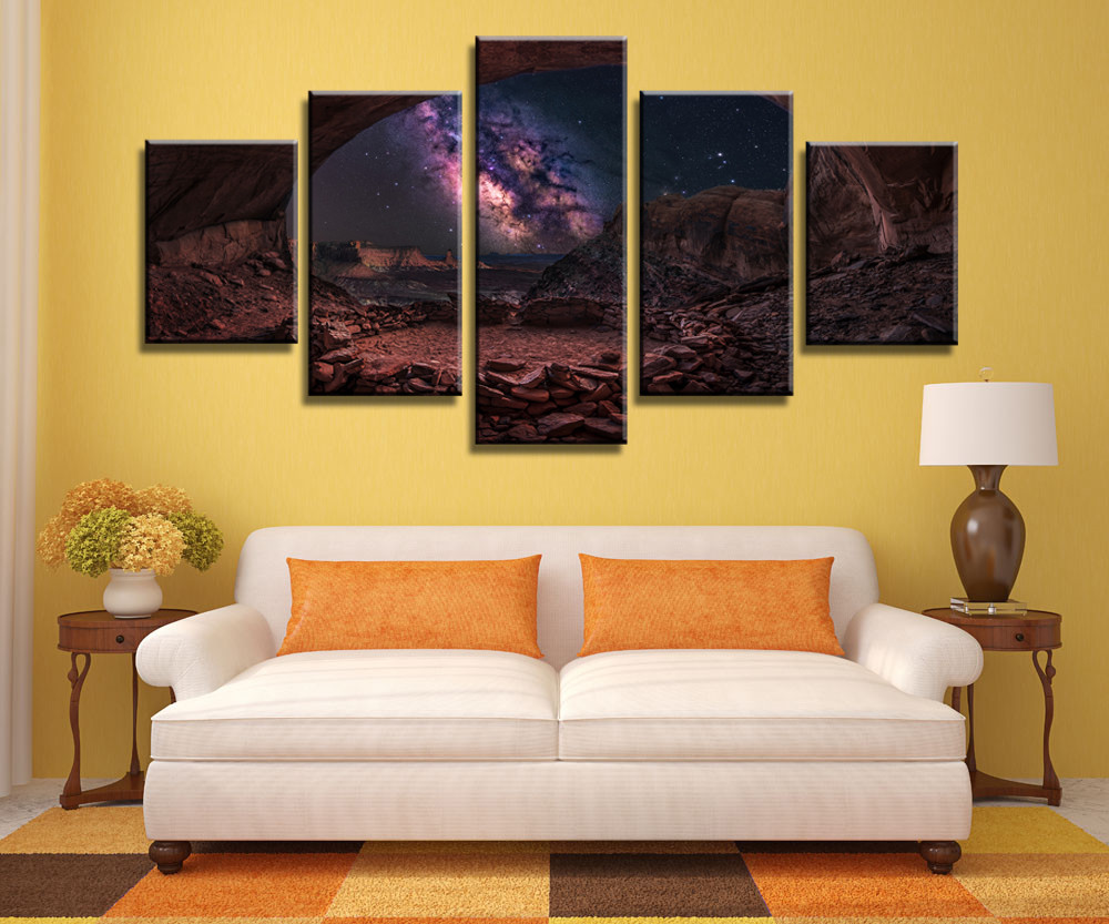 Night Cave Sky View Canvas Painting Wall Art Game 5 Pieces Prints ...